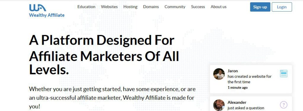 Wealthy Affiliate's Main Page