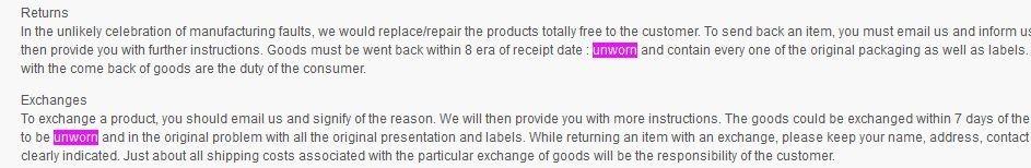 Returning Unworn Products