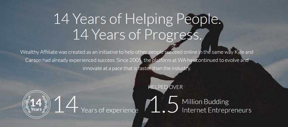 Wealthy Affiliate has 14 years of experience and has helped over 1.5 people!