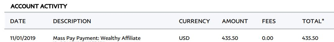 Money I received for the month of October from Wealthy Affiliate.