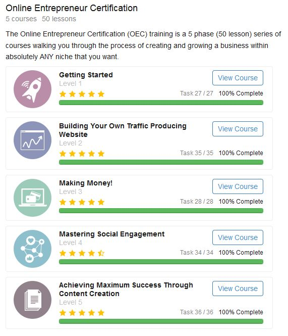 Online Entrepreneur Certification outline