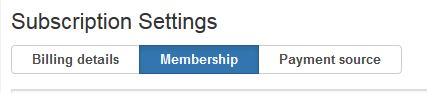 Subscription Settings heading, underneath there is a button with 'Membership' written on it