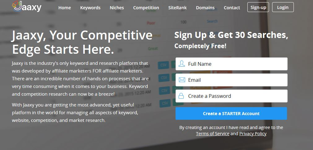 Jaaxy, an online keyword and research tool, gives you 30 free search.